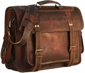 Real Goat Genuine Vintage Leather Shoulder CrossBody Laptop Messenger Office Bag