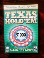 Texas Hold 'Em All In, No Limit International Championship Series New PC Game