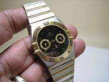 OMEGA  CONSTELLATION  DATE /  DAY 18K GOLD QUARTZ STAINLESS STEEL FULL BAR WATCH