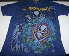 Don Ed Hardy by Christian Audiger Mens Tee Shirt Navy Blue Skull Crosswords 2XL