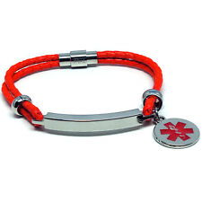 Neon Red unisex LIFE SAVING MEDICAL ALERT SOS ID Leather Bracelet ANY MESSAGE