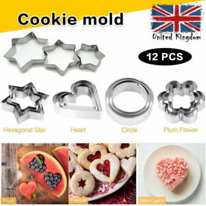 Cookie Cutter 12Pcs Set Stainless Steel Cake Baking Cookies Pastry Biscuit