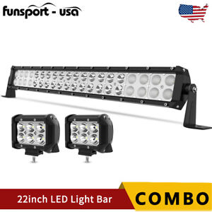 """20/22inch LED Light Bar Spot Flood Combo+ 2x 4"""" Pods Offroad For Jeep Truck SUV"""