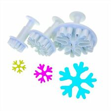 3 Pcs White Snowflake Fondant Cake Mold Mould Cookie Plunger Frozen Cake Cutters