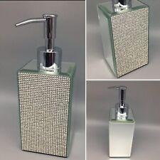 Bella Lux Rhinestone Mirror Liquid Soap Dispenser Crystal Bathroom Accessory NEW