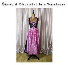 Dirndl Waitress Dress German Oktoberfest Bavarian Corset Long Black Hot Pink UK8