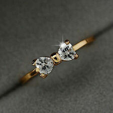 NEW Crystal Gold Plated Finger Bow Wedding engagement Zircon Ring