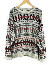 Vtg NORTHWEST TERRITORY- Mens Size M- Cowichan Style Knit Print Pullover Sweater