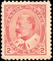 1903 Mint H Canada F+ Scott #90 2c King Edward VII Issue Stamp