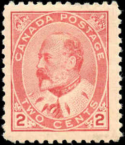 1903 Mint H Canada F+ Scott #90 2c King Edward VII Issue Stamp