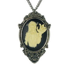 Real Metal JewelryGothic Zombie Cameo Ivory on Black in Victorian Frame Pewter