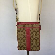 11e5855c524c COACH Signature Brown Beige Canvas CrossBody Shoulder Bag W Pink Leather  7