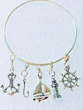 Bangle Charm Bracelet Coastal Seaside Lighthouse Sail Boat Fish Hook Anchor Helm