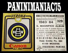 Album Figurine Calciatori Panini 83-84, 1983-1984 Scudetto N°329 Verona Bustina