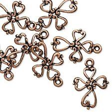 Cross Charms Antiqued Copper Filigree Jesus Christian Jewelry Lot of 20