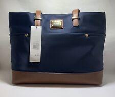 Calvin Klein Women's Handbag Shoulder Purse Tote Navy Blue & Brown NWT