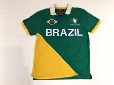 Brazil Mens Large Polo Short Sleeve Shirt Green Gold Soccer BrasilFootball