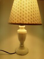 Vintage White Milk Glass Electric Table Lamp Works Good w/ Vintage Lamp Shade