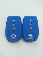 2pcs blue Key Cover for 15-19 Toyota Fortuner Rav4 Highlander Land Cruiser MarkX