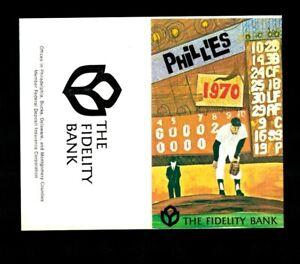 1970 Philadelphia Phillies UNFOLDED Pocket Schedule - The Fidelity Bank NM