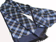 "Men's 100% Silk Scarf / Blue / Plaid / 63"" X 12"" / with fringe"