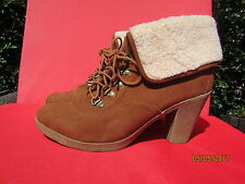 ladies uk size 5 brown suede fold over  boots **mint condition**