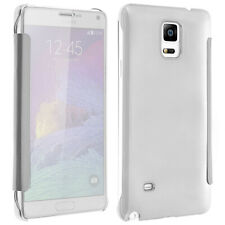 Flip Case, Mirror Case for Galaxy Note 4, see through front flip - Silver