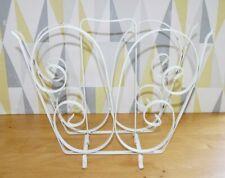 Vtg 1950s-60s white wrought iron magazine rack holder, classic scroll design