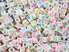Alphabet Beads 250pc Cubes White/Col Letters Kids Jewellery Party FREE POSTAGE