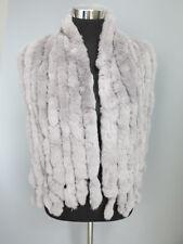 Handmade 100% real rex rabbit fur scarf /cape/ 8strips wrap/ collar gray shawl