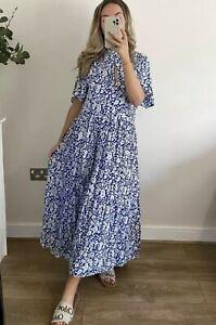 ZARA BLUE WHITE FLORAL PRINT FLOWING OVERSIZED LONG DRESS, SIZE M / UK 10 12.