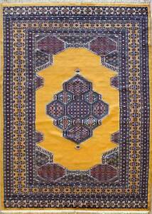 Rugstc 5x8 Pak Persian Gold Area Rug, Hand-Knotted,Medallion with Silk/Wool Pile