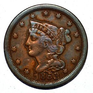 1853 BRAIDED HAIR HALF CENT ✪ XF EXTRA FINE DETAILS ✪ 1/2C L@@K K943 ◢TRUSTED◣
