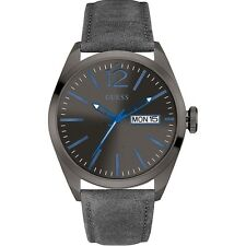 Guess Uomo Orologio Watch Man Uhr Pelle Nero Black Azzurro W0658G6 Vertigo Data