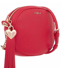 Furla Leather Cuore L Hammered Med Heart Tassel Camera/Crossbody Bag Purse Red