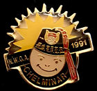 Vintage 1991 Shriner Grotto NWGA Smiley Face With Fez Masonic Temple Lapel Pin