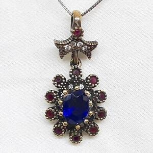 Deco 3.65ctw Blue/White Sapphire & Ruby 14K Yellow Gold Silver Pendant 5.2g