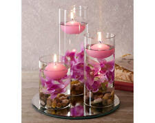 3 Lilac Floating Candles In Decorative Glasses With Pebbles & Artificial Flowers