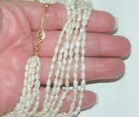 Estate 14K Gold Clasp 6 Strand Seed Pearl 2mm By 4mm Seed Pearl Necklace 23""