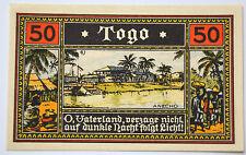 Notgeld DEUTSCHE KOLONIEN 50 Pfennig Togo 1922 Germany kassenfrisch (7078)