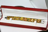 """Antique 1900's Persian Mother of Pearl Export Women's Painted Story Bracelet 7"""""""