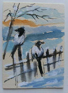 ACEO Winter Magpie Landscape Original Watercolor painting Art 2.5x3.5in MK