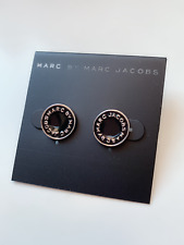 NWT Marc Jacobs stud Earrings - Silver Tone Disc with Black Enamel 1cm
