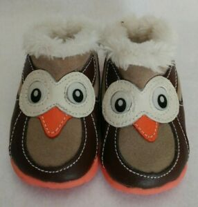 Zooligans Toddler Leather Owl Slip On Shoes Size 4 US Brown Tan Lined Warm EUC