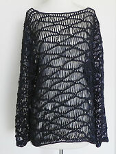 Hand Crochet/Net Top Tunic Navy Blue Long sleeve Cover Up Size M/L