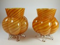 COOL PAIR OF VINTAGE ART GLASS CANDY STRIPE STYLE FIVE FOOTED FLOWER POSY VASES