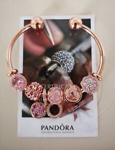 GENUINE PANDORA ROSE GOLD OPEN BANGLE 17.5cm+6 CHARMS ALE MET 586477 BRAND NEW