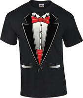 Funny Red Bow Tie Tuxedo Wedding Groom Gag Gift T-Shirt Tux Tee