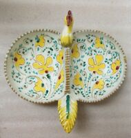 MID CENTURY ITALIAN MAJOLICA POTTERY Divided Bowl Stylized Rooster Kitzty Decor!