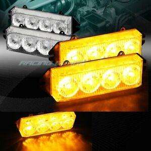 16 LED AMBER CAR EMERGENCY HAZARD WARNING GRILLE FLASH STROBE LIGHT UNIVERSAL